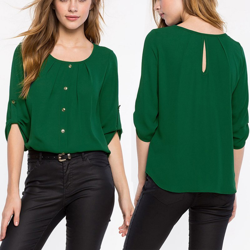 fashion women new lady loose long sleeve chiffon casual blouse shirt